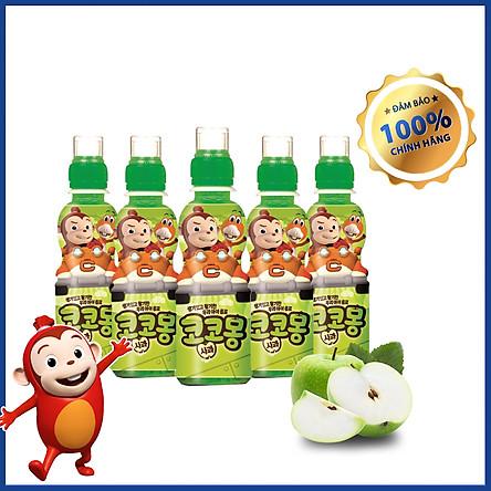COMBO 5 Nước trái cây lợi khuẩn trẻ em Cocomong Vị Yogurt Táo 200ml