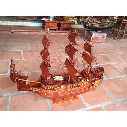 Thuyền mô hình gỗ Hương phong thủy mang lại may mắn hàng cực đẹp dài 76cm