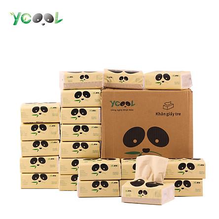 Giấy ăn gấu trúc Khăn giấy tre Ycool 1 thùng 30 gói 260 tờ 4 lớp