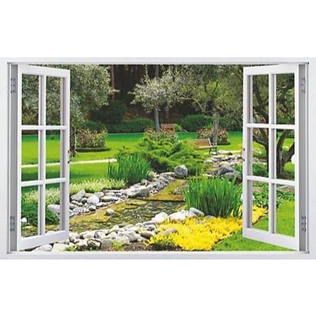 Tranh dán tường 3d cửa sổ khu vườn có sẵn keo CS74