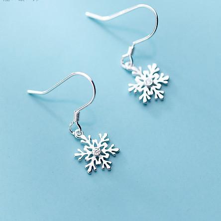 Khuyên Tai Bạc Nữ Khoen Móc Hình Bông Tuyết B2620- Bảo Ngọc Jewelry