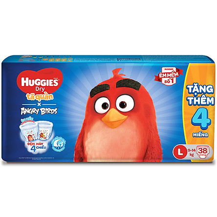 Tã Quần Huggies Dry gói trung Angry Birds phiên bản giới hạn L38 (38 Miếng) - Tặng 4 miếng