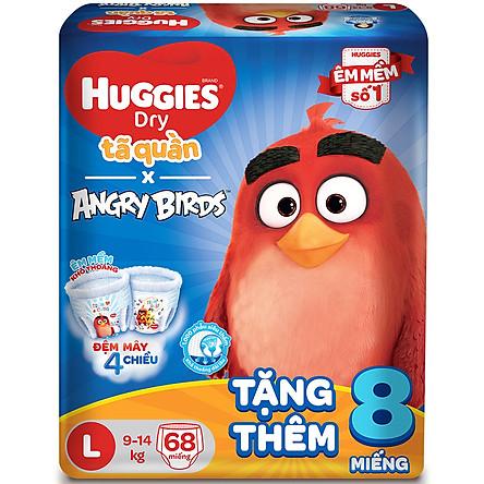 Tã Quần Huggies Dry Gói Cực Đại Angry Birds Phiên Bản Giới Hạn L68 (68 Miếng) - Tặng 8 Miếng