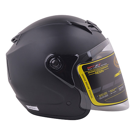 Mũ Bảo Hiểm Kính Trong Napoli N039-ĐEN-KT - Đen Nhám