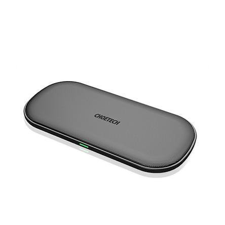 Đế sạc nhanh không dây Qi 2 in 1 cho điện thoại và tai nghe Apple Airpods 2 hiệu CHOETECH HPK-T535-S công suất 10W sạc cùng lúc 02 thiết bị - Hàng chính hãng