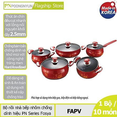 Bộ Nồi Nhôm Poong Nyun FAPV - Đỏ Bông