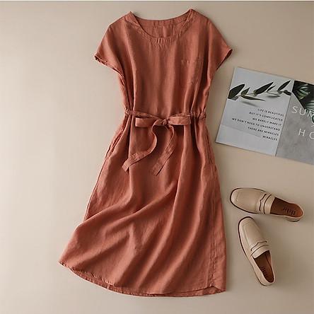 Đầm suông linen tay hết rút eo trẻ trung ArcticHunter, chất vải linen mềm mát, thời trang phong cách Nhật Bản