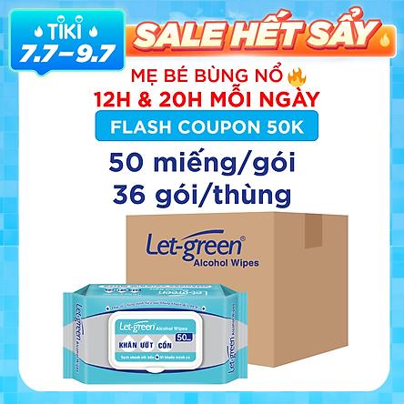 Thùng 36 Bao Khăn Ướt Cồn Let-green 50 Miếng/Gói