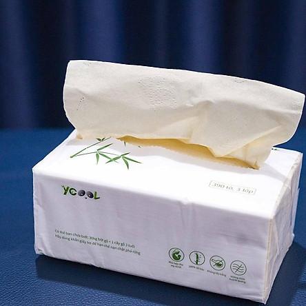 Giấy ăn gấu trúc Ycool -giấy vệ sinh giấy gói giấy rút 390 tờ 1 bịch 6 gói màu trắng