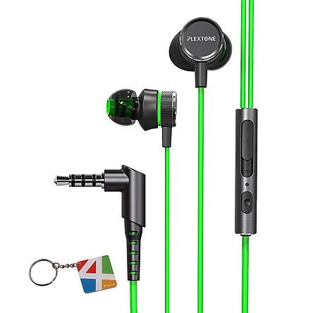 Tai nghe Gaming Plextone, tai nghe nhét tai in ear hỗ trợ chống ồn dành cho game thủ chuyên nghiệp + Tặng Kèm Móc Khóa 4Tech - Hàng Chính Hãng.