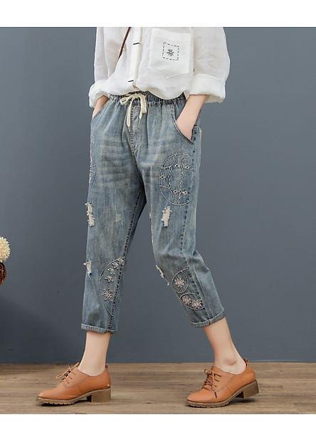 Quần jean beggy nữ dáng rộng hàng thêu xuất khẩu QB01