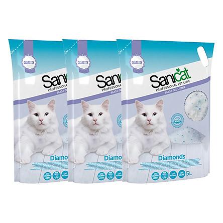 3 Túi Cát Thủy Tinh Không Mùi Sanicat (5L / Túi)