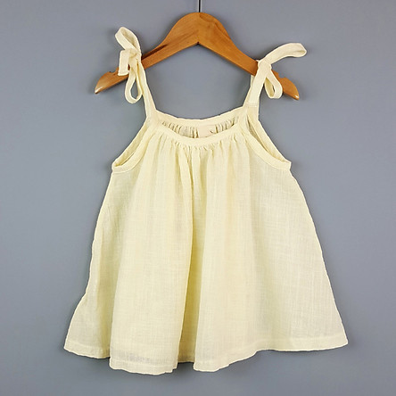 Áo Hai Dây Bé Gái Vải Cotton Thô - Nhập Khẩu Hàn Quốc
