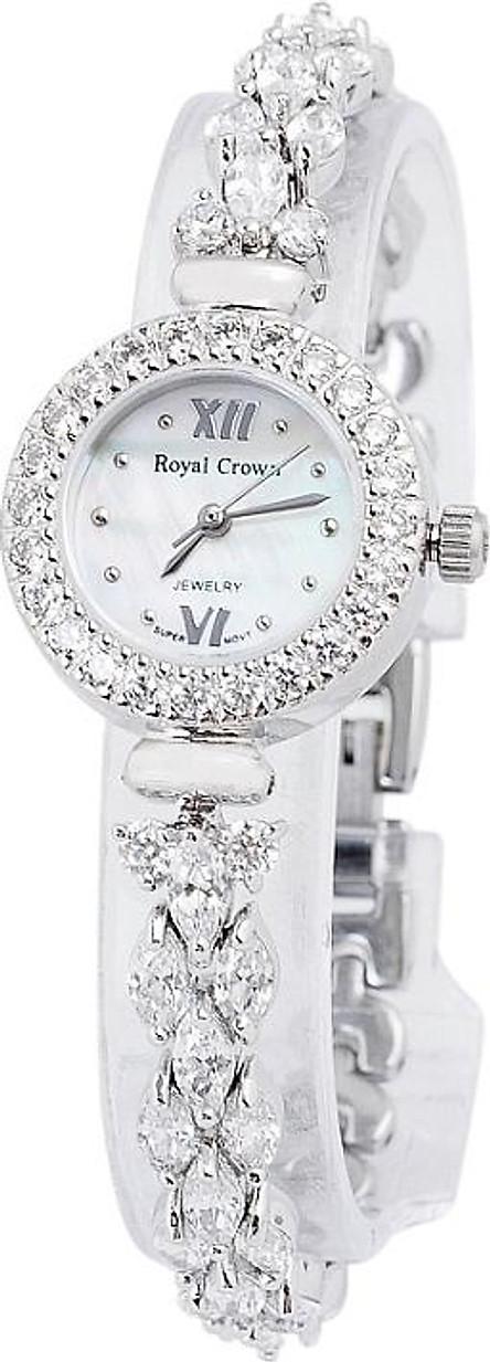 Đồng Hồ Nữ Dây Đính Đá Royal Crown 5266J (24mm) - Bạc