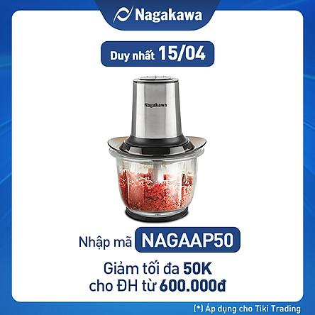 Máy xay thịt 2 lưỡi dao kép cối thủy tinh Nagakawa NAG0812 (400W - 1.5 Lít) - Hàng Chính Hãng