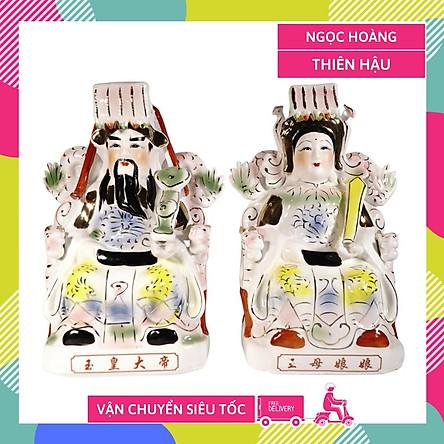 Bộ tượng Ngọc Hoàng và Thiên Hậu Nương Nương gốm sứ ngồi vẽ màu cao cấp - Cao 30cm