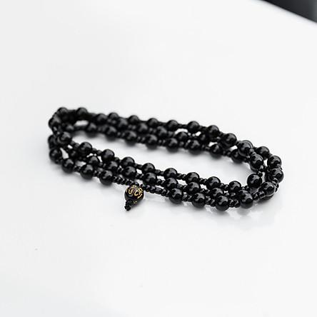 Vòng chuỗi hạt đeo tay phong thủy cho nam nữ đá Obsidian phát lộc VT0009 - phát tài