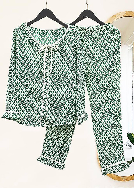 Bộ đồ ngủ nữ tay dài quần dài thu đông cao cấp PJ125