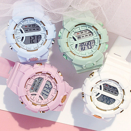 Đồng hồ điện tử nam và nữ KASAWI k562 Sports Đồng hồ  Học sinh trung học cơ sở Hàn Quốc thể thao chống thấm nước- xem giờ điện tử - báo thức - bấm giờ thể thao - xem lịch ngày tháng thứ - Dây Silicone Bền Chắc