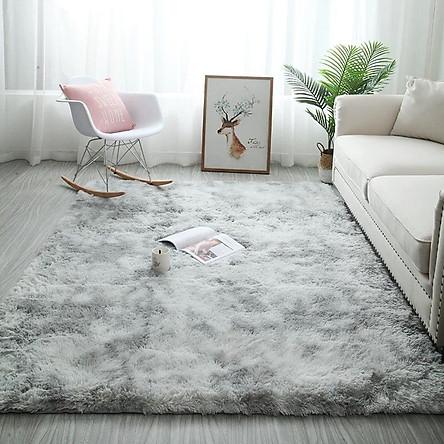 Thảm trải sàn phòng ngủ lông xù vằn màu Xám nhạt 160x100cm