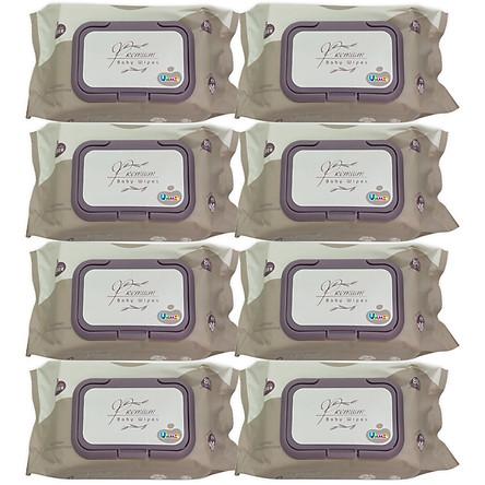 Bộ 8 Gói Khăn Ướt Wesser 80 Tờ (Màu Nâu) chất liệu Vải Dập Nổi cao cấp - Không Hương - Không Parapen