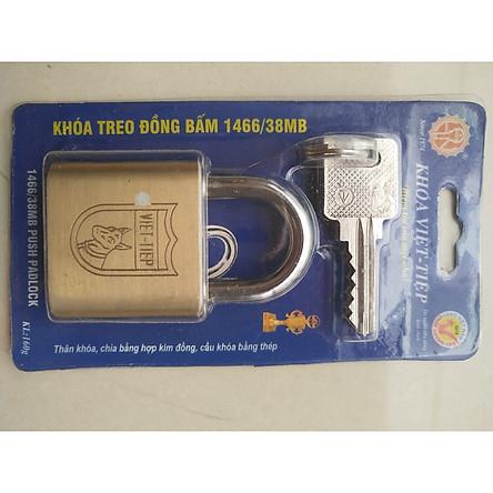 Ổ Khoá Việt Tiệp Treo Đồng Bấm Loại Nhỏ 61 x 38 Ống Phi 6mm (1466/38MB)