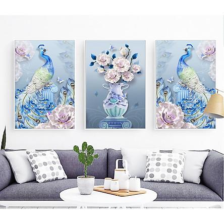Decal dán tường trang trí phòng ngủ bộ 3 tranh đôi chim công bên hoa Mẫu Đơn Tipo_0264