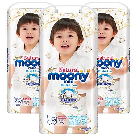 [Combo 3 Bịch] Tã/Bỉm Moony Natural Bông Organic Cao Cấp [Full Size]