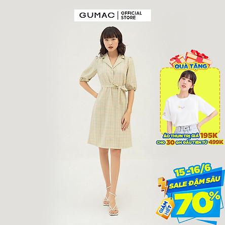 Đầm suông nữ thiết kế caro GUMAC DB316