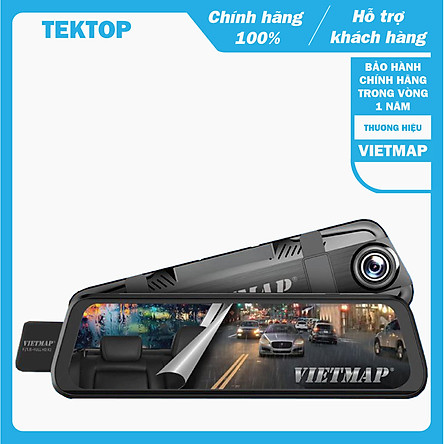 Camera hành trình VietMap G39, Full HD 1080p, màn hình gương điện tử, kết nối wifi, ghi hình ngày đêm siêu nét trước và sau xe ôtô, xe tải - Hàng chính hãng
