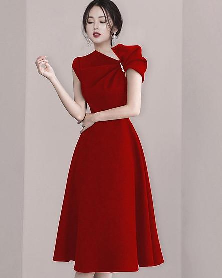 Đầm xòe nhún vai kết hạt trai thời trang