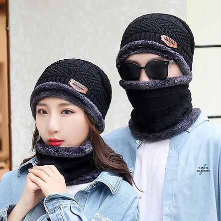 Nón len nam, mũ len nam lót lông cực ấm có kèm khăn quàng cổ mẫu HOT MLN2 (dùng được cho cả nam lẫn nữ)