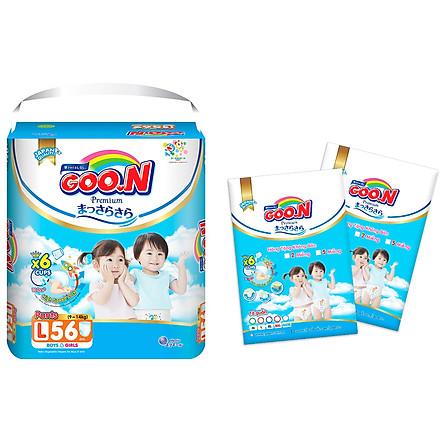 Tã quần Goon Premium cao cấp gói siêu đại L56 (9kg ~ 14kg) + Tặng thêm 10 miếng cùng size