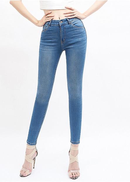 Quần jean nữ lưng cao skinny xanh