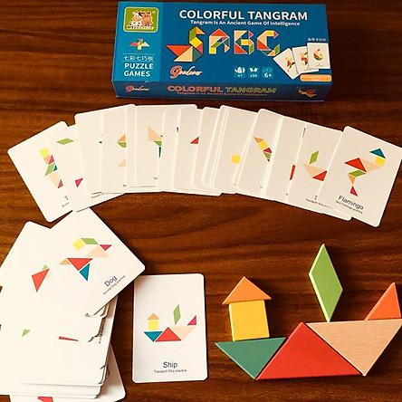 Ghép hình Tư duy Tangram gỗ theo thẻ