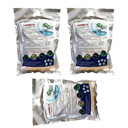 Combo 3 gói Men vi sinh xử lý nước ao hồ Cá Tôm - LASACHU. Làm trong nước, sạch nhớt đáy. Khử mùi hôi, chặn khí độc (NH3, N, NO2, H2S). Ức chế vi khuẩn gây hại. HSD: 2 năm