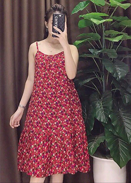 Váy lanh đuôi cá hoa nhí nhiều màu