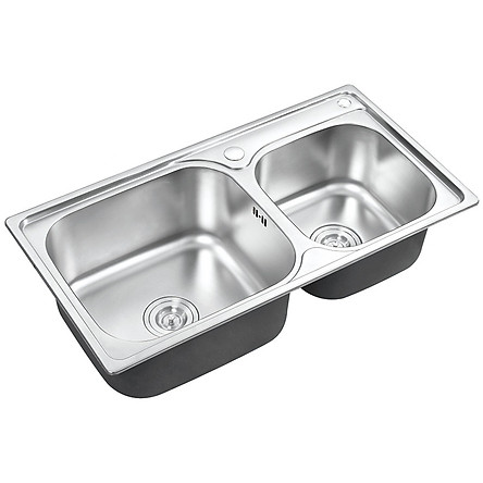 Chậu rửa chén Inox 2 hộc Eurolife EL-C5 (Trắng bạc)