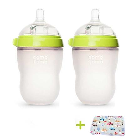 Bộ 2 bình sữa cho bé 250ml. Bình Sữa Silicone Comotomo chính hãng - Tặng kèm tấm lót chống thấm cho bé