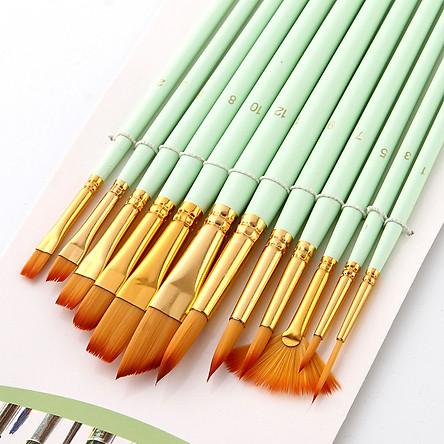 Bộ Cọ 12 Cây Chuyên Dụng Cao Cấp Để Tô Vẽ Tranh Sơn Dầu, Màu Nước, Màu Acrylic