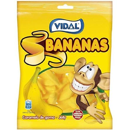 Combo 3 gói Kẹo dẻo Vidal Bananas hình trái chuối 100gr