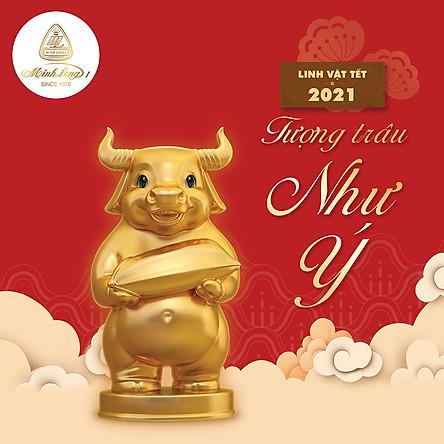 Trâu Như Ý trang trí vàng 24k gốm sứ Minh Long
