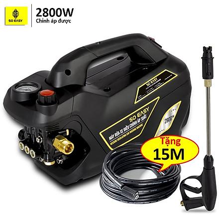 Máy bơm rửa xe mini gia đình, máy lau rửa xe cao áp công suất mạnh 2800W có thể chỉnh áp, bộ máy xịt tưới cây dễ dàng sử dụng, ống bơm nước 15m, vòi bơm áp lực cao C0004B4