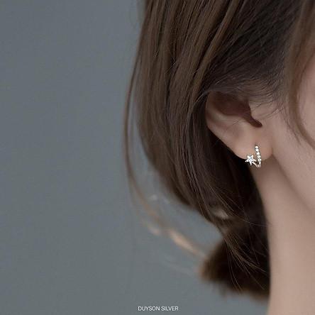 Bông tai bạc nữ Khuyên tai bạc nữ vòng tròn ngôi sao đính đá