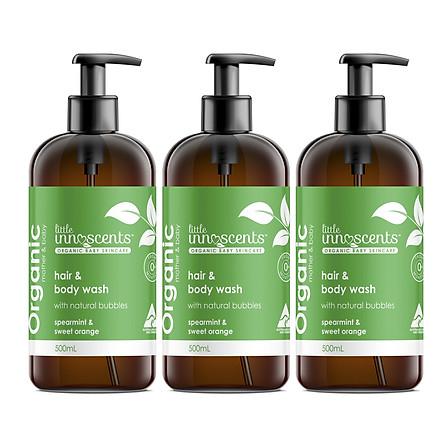 Bộ 3 chai Little Innoscents - Dầu gội và tắm - Organic Spearmint - Orange Hair Body Wash