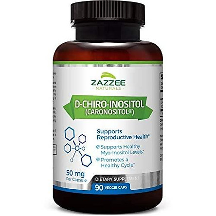 Zazzee D-Chiro-Inositol, 90 Veggie Capsules, 50 mg per Capsule, 3-Month Supply, Ideal Dosage for 40:1 Ratio with Myo-Inositol, Vegan, Non-GMO and All-Natural