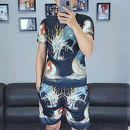 Bộ quần áo nam vải thun,bộ thể thao,bộ mặc nhà nam in họa tiết 3D-07