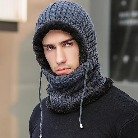 Mũ len nam nữ trùm đầu liền khăn cổ lót nỉ ấm áp mùa đông chống gió lạnh - mu len nam nu lot ni trum co
