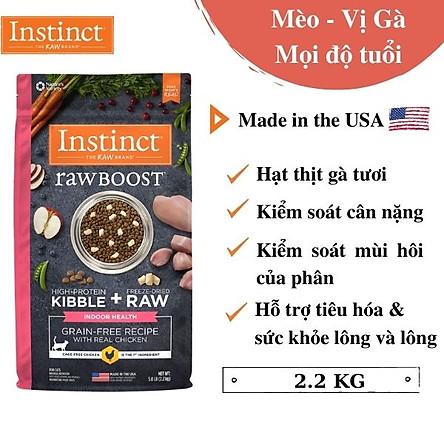 (Túi 2,27kg) Thức ăn cho mèo trong nhà làm từ thịt gà tươi Instinct Raw Boost for Indoor Health