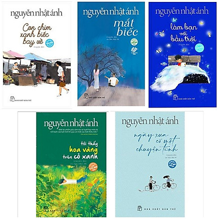 Combo 5 Cuốn: Con Chim Xanh Biếc Bay Về + Mắt Biếc + Làm Bạn Bới Bầu Trời + Ngày Xưa Có Một Chuyện Tình + Tôi Thấy Hoa Vàng Trên Cỏ Xanh (Top 5 Sách Hay Nhất Và Mới Nhất của Nguyễn Nhật Ánh)